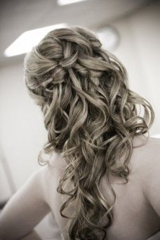 Waterfall braid and soft curls. When I show this to my stylist she is going to recommend extensions and a therapist!