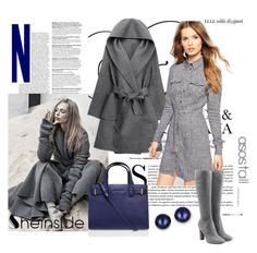 """""""Sheinside: Grey Hooded Tie-waist Coat"""" by autumn-soul ❤ liked on Polyvore featuring WithChic, ASOS, L'Autre Chose, Kurt Geiger and Kevin Jewelers"""