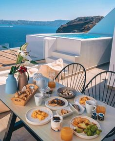 Santorini, Greece, Table Settings, Table Decorations, Landscape, Breakfast, Instagram, Home Decor, Nature