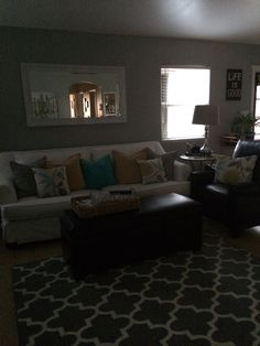Getting into fall. Changing to a little modern. Sofa, Couch, Color Combos, Flat Screen, Bed, Modern, Furniture, Fall, Home Decor