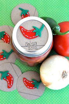 Mason Jar Gift Label: 12 PEPPER Felt Regular and Wide-Mouth Mason Jar Toppers.