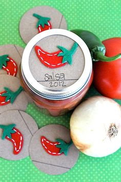 Mason Jar Gift Label: 12 Felt PEPPER Regular and Wide-Mouth Mason Jar Toppers. $15.00, via Etsy.