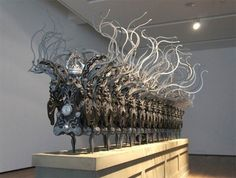 Kinetic Sculptures | Limee Young an artist from South Korea, makes these very complex kinetic sculptures using stainless steel components, embedded cpu boards, microprocessors, servos, and other mechanical …
