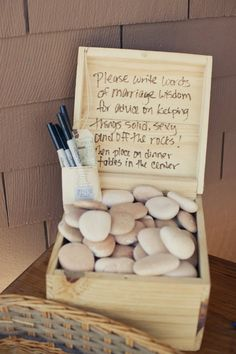 Cute way to set up the rock guest book!