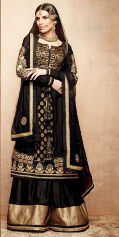USD 115.8 Black Embroidered Designer Sharara Style Suit   37571