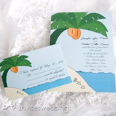 Beach Style Coconut Trees Wedding Invitation for summer wedding