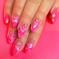 "@gentryishere neon pink bohemian nails<span class=""emoji emoji1f49e""></span> Hard gel overlay with Hand painted designs, Mani-Q ..."