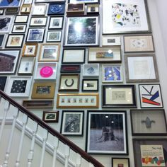Love this idea for a stairway or entry. Wall Collage, Wall Art, Decor Interior Design, Interior Ideas, Home Pictures, Frame It, Wall Treatments, Texture Art, Wall Spaces