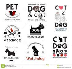 Hair salon for animals logo labels badges. Hair salon for animals logo labels badges. Tools for dog grooming. Dog Grooming Salons, Dog Grooming Tips, Pet Shop, Dog Logo Design, Logo Sign, Animal Logo, Badge, Pets, Decorating