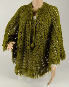 Vintage Lacy Shells Poncho Crochet Pattern