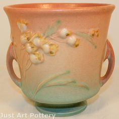 Roseville Pottery Ixia Pink Jardiniere 640-4 from Just Art Pottery