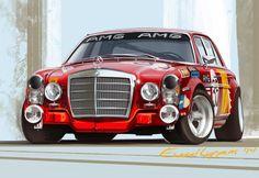 Mercedes Benz 300 SEL AMG Race Car Art by Ewoud Luppens