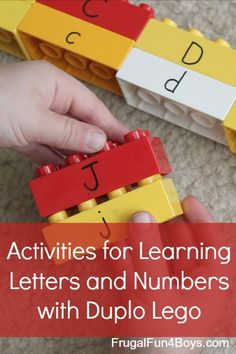 for Learning Letters and Numbers with Duplo Lego Several ideas for learning letters, numbers, and beginning reading with Duplo Legos - love these ideas!Several ideas for learning letters, numbers, and beginning reading with Duplo Legos - love these ideas! Learning Tips, Toddler Learning, Early Learning, Preschool Literacy, Literacy Activities, Activities For Kids, Kindergarten, 3 Year Old Preschool, Preschool Ideas