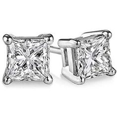 Princess Cut CZ in Sterling Silver Stud Earrings by Evabella Collections on Opensky