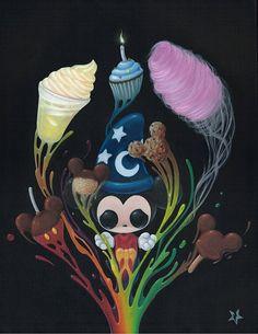 Sugar Fueled Lowbrow Mickey Mouse Disney Fantasia Sweets Dole Whip Cotton Candy cupcake pop creepy cute big eye art print