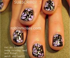 black nails with purple flowers nail art nails  http://www.youtube.com/watch?v=e56L9d34p6I