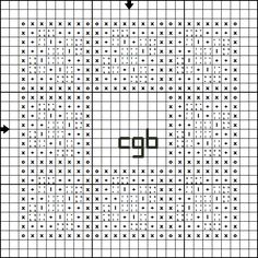 Pattern for Rosebud Quilt Block Frame Cross Stitch Ornament  - right click and save pattern from Pinterest - follow link to find instructions and key