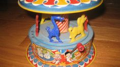 icollect247.com Online Vintage Antiques and Collectables - 1950S MATTEL TIN CAROUSEL MUSICAL COLORFUL EX++ Toys-Tin
