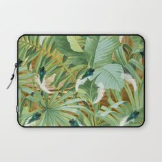 Golden Royal White and Blue-green Peacock Feathers Laptop Sleeve by justkidding #LaptopSleeve #graphicdesign #leaves #peacockfeathers #green #darkgreen