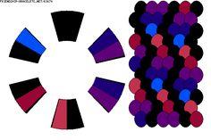 K3674  [DMC 3607,3608 plum/ 3846, 995 Turq./ 3837 Dk. Lavender/ 310 black