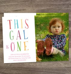 "Printable ""This gal is one"" birthday invitation by MonicaGraphicDesign on Etsy"
