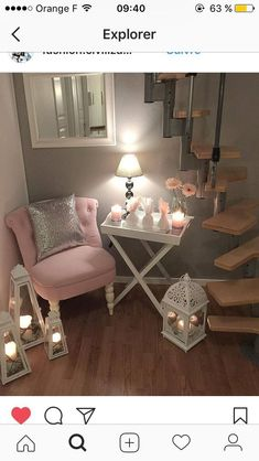 Set up for a corner: chair, mirror, table and lamp - Wohnideen - Wohnen Interior Design Living Room, Living Room Designs, Living Room Decor, Bedroom Decor, Corner Chair, Corner Lamp, Corner Mirror, My New Room, Home And Living