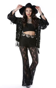 Black Magic Brocade Velvet Burnout Tassel Kimono - Saltwater Gypsy #saltwatergypsy