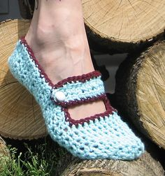Crocheted Button Slippers - *tip: if you paint a few dots of puff paint on the bottom, it will help skid-proof the slippers.