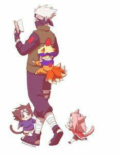 Team 7, Naruto, Sakura, Sasuke, Kakashi, cute, chibi, neko, cat, fox; Naruto
