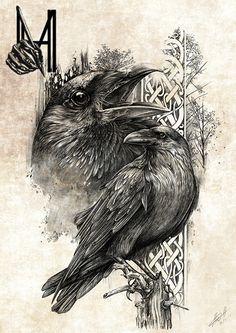 MHave Design & Ink (Artwork) on Behance Hugin Munin Tattoo, Fenrir Tattoo, Norse Tattoo, Celtic Tattoos, Viking Tattoos, Celtic Raven Tattoo, Crow Art, Raven Art, Tattoo Sketches
