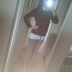 grey jeans and white shirt - 'hennes and mauritz'  and blue and red striped jumper - 'marks ans spencer'