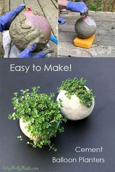 Make a DIY Cement Balloon Planter Great tutorial for making planters, using concrete and a balloon. This tutorial works and is easy. Don't use concrete, use cement to make it easy. Pot Mason Diy, Mason Jar Crafts, Diy Hanging Shelves, Floating Shelves Diy, Concrete Planters, Diy Planters, Concrete Crafts, Planter Garden, Concrete Projects
