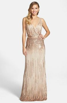 Adrianna Papell Beaded surplice gown champagne wedding dress currently for sale at off retail. Embellished Bridesmaid Dress, Champagne Bridesmaid Dresses, Wedding Bridesmaids, Wedding Gowns, Sparkly Bridesmaids, Champagne Dress, Beaded Bridesmaid Dresses, Sequin Gown, Pretty Dresses