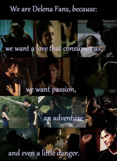 We are Delena fans because: We want a love that consumes us, we want passion, an adventure, and even a little danger.