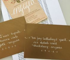 My calligraphy on Gold Wedding Invitation Envelopes, White ink