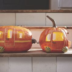 Pumpkin Car and Trailer Set - Halloween Costume Ideas Decorating Your Rv, Pumpkin Decorating Contest, Halloween Pumpkins, Halloween Crafts, Halloween Decorations, Halloween Camping, Halloween Ideas, Happy Halloween, Halloween Quotes