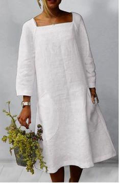 Maxi Dress With Slit, White Dress, Linen Dresses, Midi Dresses, Tunic Dresses, Blue Dresses, Vestido Casual, Lady V, Aliexpress