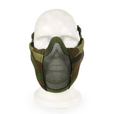 Outdoor Camouflage Breathable Half Lower Face Mask Steel Net Mesh Mask Tactical Mask Protecting for CS Halloween Party