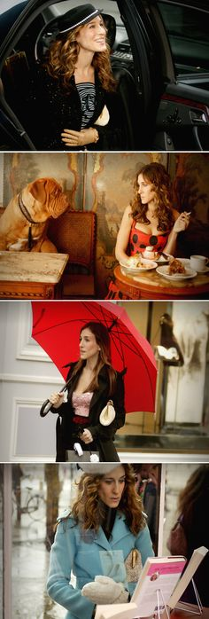 Carrie Bradshaw in Paris. Some of my favorite looks ever! Wish they had the mint dress from the last scene.