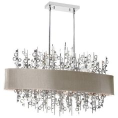 Radionic Hi Tech Picabo 7 Light Polished Chrome Horizontal Crystal Chandelier With Pebble Shade