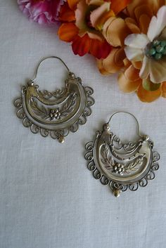 Frida Style Earrings: Sterling Silver Arracadas