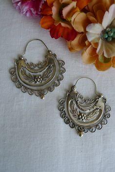 Frida Style Earrings: Sterling Silver Arracadas