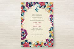 Las Flores Bonitas Wedding Invitations - I love this style!! we won't end up getting it since it's in spanish and english and has a cross on it, but it is just gorgeous! a hindi and english version would be incredible.