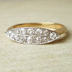 Edwardian Diamond Elipse Ring, Antique Diamond Engagement Ring, 18k Gold Diamond Ring, Approx.Size US 6.25