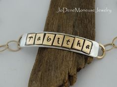 Personalized gold and silver mixed metal name or word bracelet, $80.00 by JoDeneMoneuseJewelry