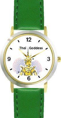 Buddhist - Thai Sawasdee Angel - Peace Deva - WATCHBUDDY® DELUXE TWO-TONE THEME WATCH - Arabic Numbers - Green Leather Strap-Children's Size-Small ( Boy's Size & Girl's Size ) WatchBuddy. $49.95. Save 38%!