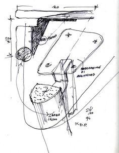 Achille Castiglioni hand sketches for Tavolo 95 table by De Padova.