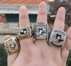 (4 PCs) 1991 1992 2009 2016 Pittsburgh Penguins Stanley Cup Championship ring