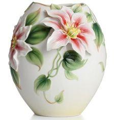 Clematis Flower Porcelain Vase