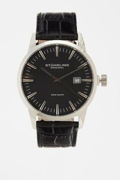 STUHRLING CLASSIC ASCOT II LEATHER WATCH WITH INTERCHANGEABLE BAND from JackThreads